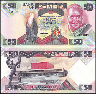 Zambia 50 Kwacha Banknote, 1986, P-28a, UNC, Replacement, Fish Eagle, Building