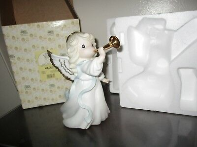 """Precious Moments 9"""" Tall-Sing In Excelsis Deo-Porcelain Bisque Tree Topper $165V"""