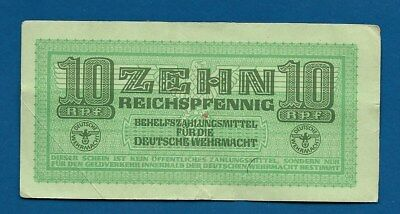 WW2 German Armed Forces 10 Reichspfennig 1942 M-34 Military Payment Certificate