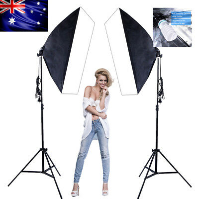 2X135W Photography Video Studio Continuous Lighting Softbox Kit Soft Box Stand