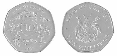 Uganda 10 Shillings 5 g Nickel Plated Coin, 2015, KM # 30, Mint, Animals, Plants