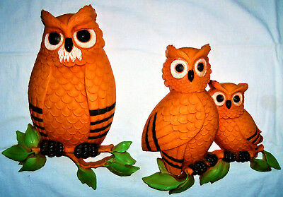 Vintage Mid Century Set of 2 Syroco Wall Hangings Decor Plaques / Owl Family