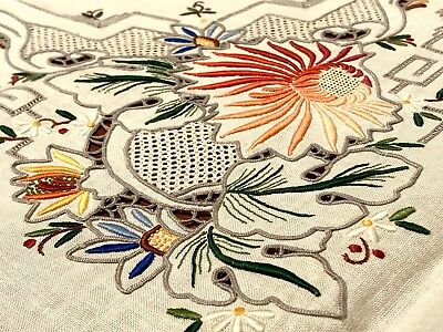 RARE MADEIRA COLORFUL FLORAL EMBROIDERED TABLECLOTH & NAPKINS  VINTAGE 1950's