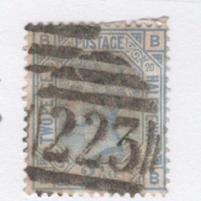 Great Britian Sg142 2½ D Q. Victoria Plate 20 Used Catalogue $90 #