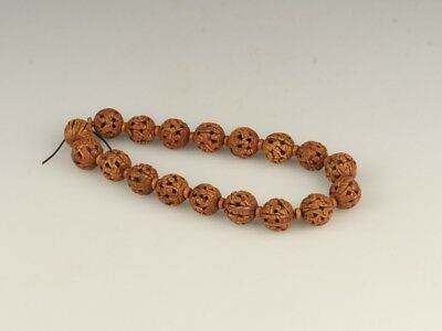 Chinese Exquisite Hand-carved people carving Peach core Bracelets