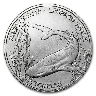 Tokelau 5 Dollars, 2018 , Leopard Shark, 1oz SILVER Coin, in capsule, UNC