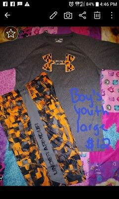 Youth Boys Under Armour t-shirt & shorts outfit Large