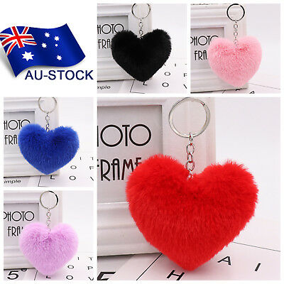 Heart Shaped Soft Fluffy Fur PomPom Ball Keychain Car Handbag Pendants Key Ring