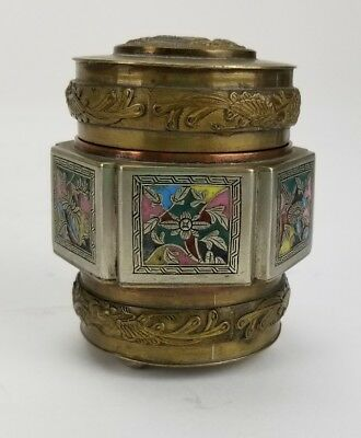 Antique Chinese Brass Copper Silver Enamel Dragon Tea Caddy Spice Jar Snuff Box
