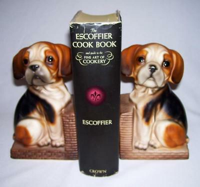 Vintage Pair of Cute Ceramic Matte Tri-Colored BEAGLE PUPPY Bookends ~ Germany