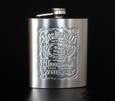Jack Daniel s 7oz Embossed Flagon Stainless Steel Hip Flask  With Box Portable