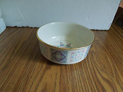 Lenox The Album Quilt Bowl 1989 Fine Ivory China with Gold Banding