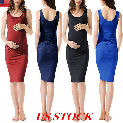 USA Pregnant Women Dresses Maternity Clothes Sleeveless Knee Length Solid Dress