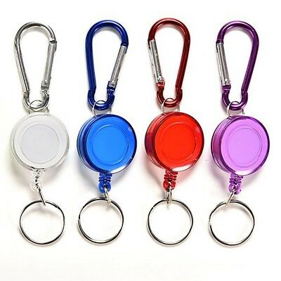 Retractable Reel Recoil ID Badge Lanyard Name Tag Key Card Holder Belt Clips