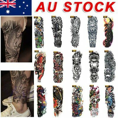 Large Cool Men Waterproof Temporary Tattoos Arm Fake Transfer Tattoo Stickers O5
