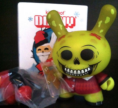 "Kidrobot Dunny 3"" Holiday Christmas Saner Santa the Burglars Green Chase Toy New"
