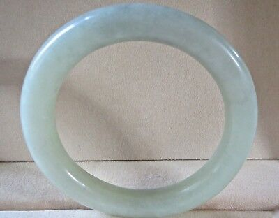 Jade? Jadeite? Carved Thick Natural Light Green Bangle Bracelet 58 Grams