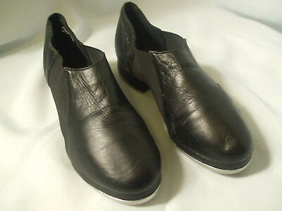 Womens Black Leather LEO'S Slip On JAZZ TAP SHOES LS3007L  Sz 6 W