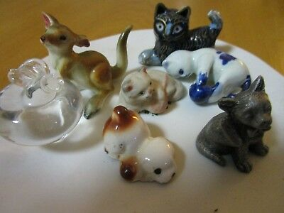 CATS ASSORTED  Miniature Figurine Porcelain PEWTER GLASS &  METAL  ORNAMENTS