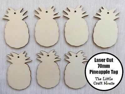 5x 70mm Wooden Pineapple Hang Tag Laser Cut Shape Ply Blank Wood Shapes Tropical