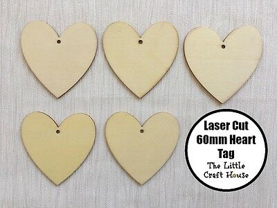 5 x 60mm Wooden Heart Hang Tag Laser Cut Shape Ply Blank Wood Shapes Hearts Love