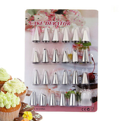 24Pcs/set Stainless Steel Icing Piping Pastry Nozzles Tips Cake Decor Tools
