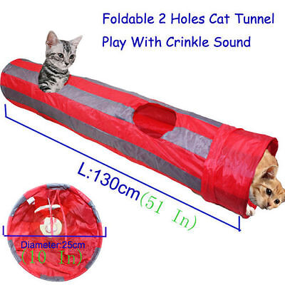 Cat Tunnel Pet Toys 2 Holes Striped Tunnel Kitten Cat Collapsible Foldable Toys