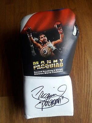 Limited Edition custom made Boxing glove hand signed by Manny Pacquiao