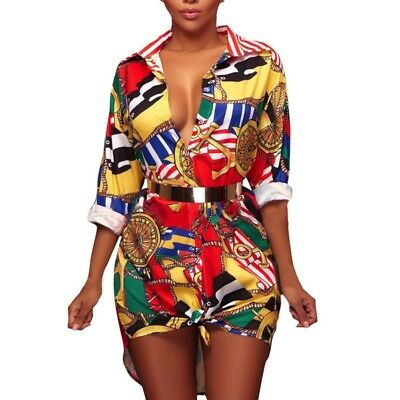 Traditional African Style Floral Print Short Dress Party Mini Blouse Shirt Dress