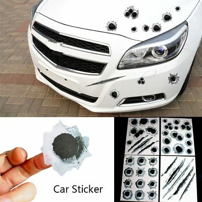 3D Bullet Holes Car Sticker Scratch Decal Waterproof Motorcycle Stickers