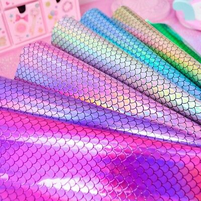 Iridescent Mermaid Scale Tablecloth Waterproof PU Leatherette Bow Making Fabric