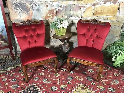 Pair~Vintage French Louis Chesterfield Side/Bedroom Chairs~Bergeres-Red Velvet