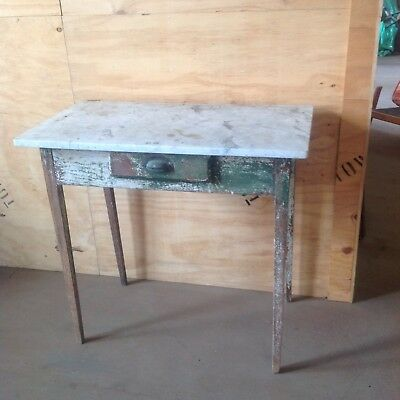 industrial antique marble top side table original paint REDUCED TO SELL
