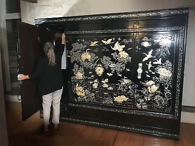 Vintage Oriental Mother Pearl Cabinet/Cupboard/Chest Drawers~Rare