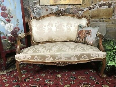Antique French Louis Style Wingback Lounge Sofa~Shabby Chair-Chic