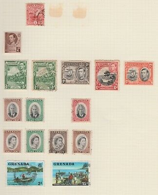GRENADA Collection Postage Revenue QE 15c Fisherman etc USED as per scan #