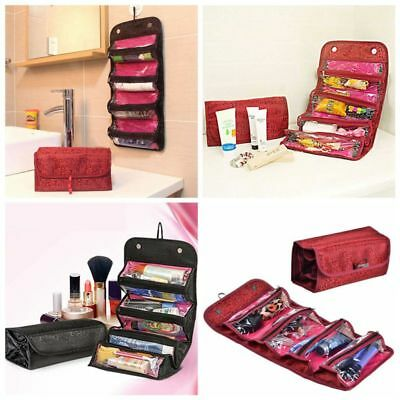 Roll-up Hanging Toiletry Wash Bag Organizer Pouch Travel Cosmetic Makeup Case AU