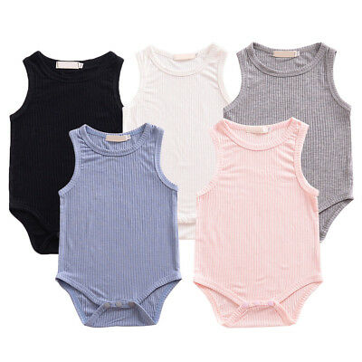 Newborn Baby Boy Girl Ribbed Romper Bodysuit Jumpsuit Outfit Sunsuit Clothes