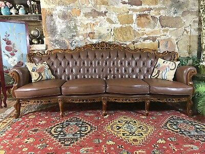Vintage Leather French Louis Wingback Chesterfield Lounge 4 Seater Sofa~Chair