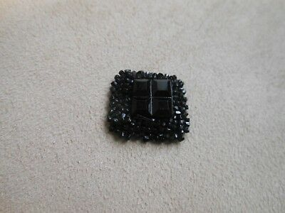 Beautiful black tiny Victorian dress accessory 4 section central glass? boss