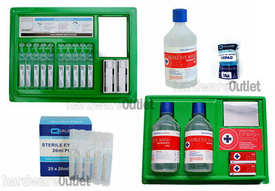 Sterile EYEWASH SOLUTION Complete Station Bottles Pods or Eye Pads First Aid