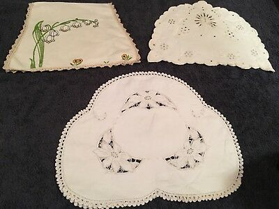lot of 3 Vintage Linen Cosy Covers various sizes embroidered & cutwork