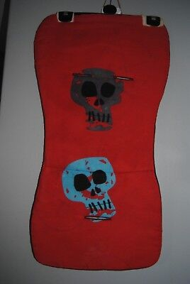 red blue grey skull pirate universal pram buggy liner slight fault in fabric