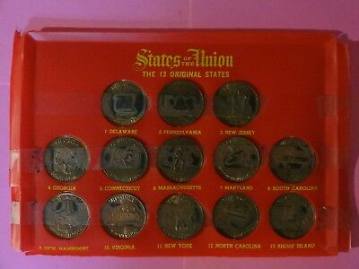 Vintage 1969 Shell Oil States of the Union Bronze Collector 13 Coin Set +Booklet
