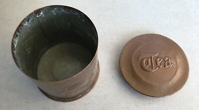 Original Antique Arts and Crafts signed Newlyn Copper round Tea Caddy Galleons