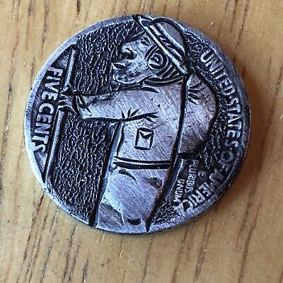 Hand Carved Hobo Nickel Coin Art - Walk With Me