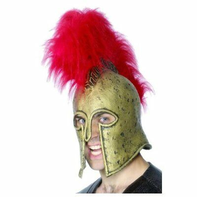 Roman Armour Helmet, Gold, with Large Plume, Deluxe, Latex  (UK IMPORT)  AC NEW