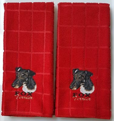Smooth Fox Terrier Embroidered Hand Towels 2 pack