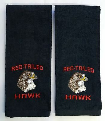 Red-Tailed Hawk, Birds of Prey, Embroidered Hand Towels