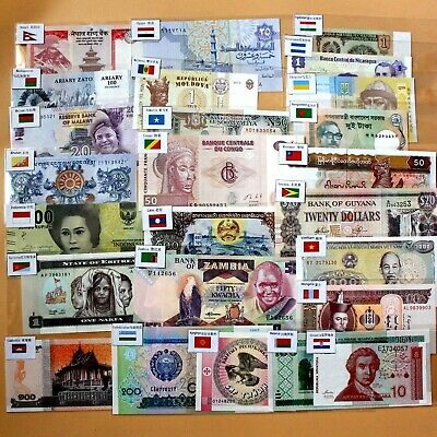50pcs Different World banknotes with flags 25 countries PAPER MONEY Uncirculated